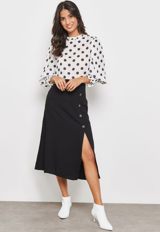 Button Detailed Midi Skirt