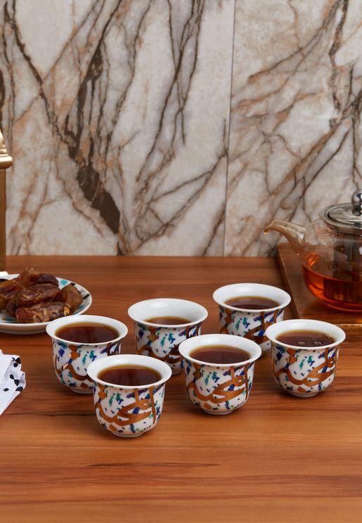 6 Pack Fairuz Arabic Coffee Cup Set