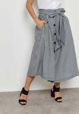 Checked Self Tie Maxi Skirt