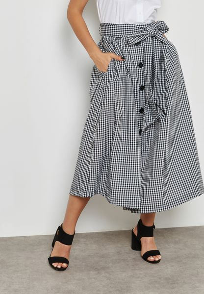 Checked Self Tie Maxi Skirt