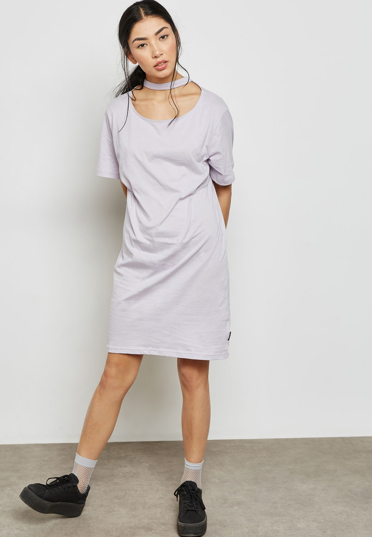Cut Out Neck T-Shirt Dress