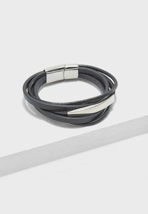 Leather Magnetic Lock Bracelet
