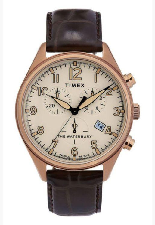 ساعة تيميكس ووتربري تراديشونال كرونو بسوار جلدي للرجال - TW2R88300