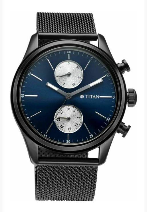 ساعة تيتان للرجال المنت زرقاء من الستانلس ستيل الفضي - T1805NM03