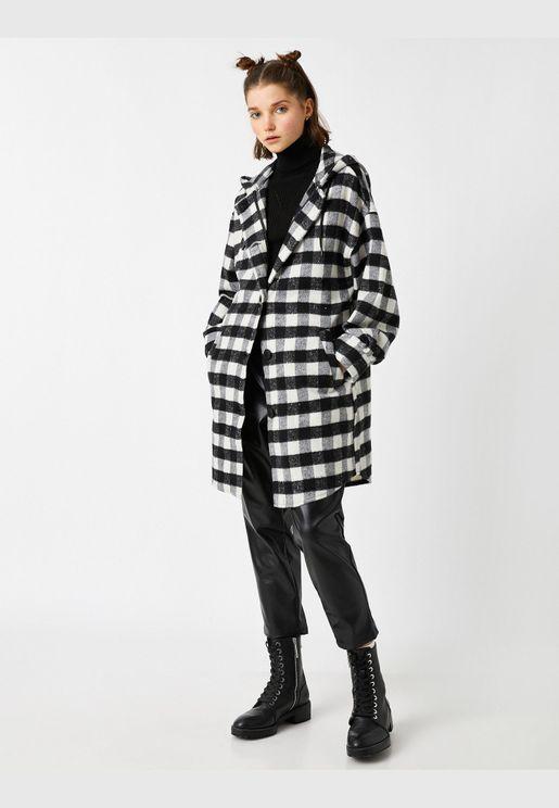 Check Hooded Oversize Jacket