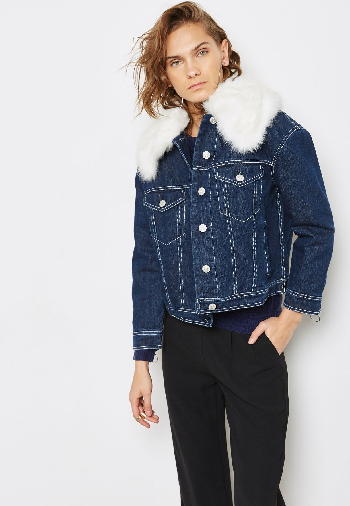 5cd1884d15 Shop Mango navy Faux Fur Denim Jacket 13045708 for Women in UAE ...