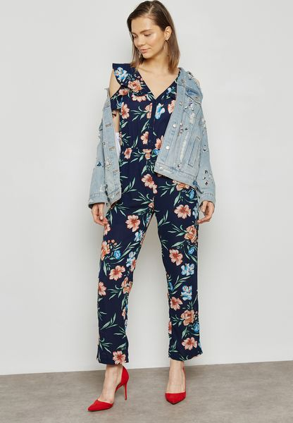 Floral Print Cold Shoulder Jumpsuit