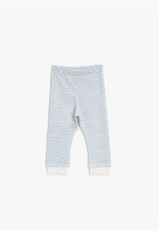 Cotton Medium Rise Striped Jogging Pants