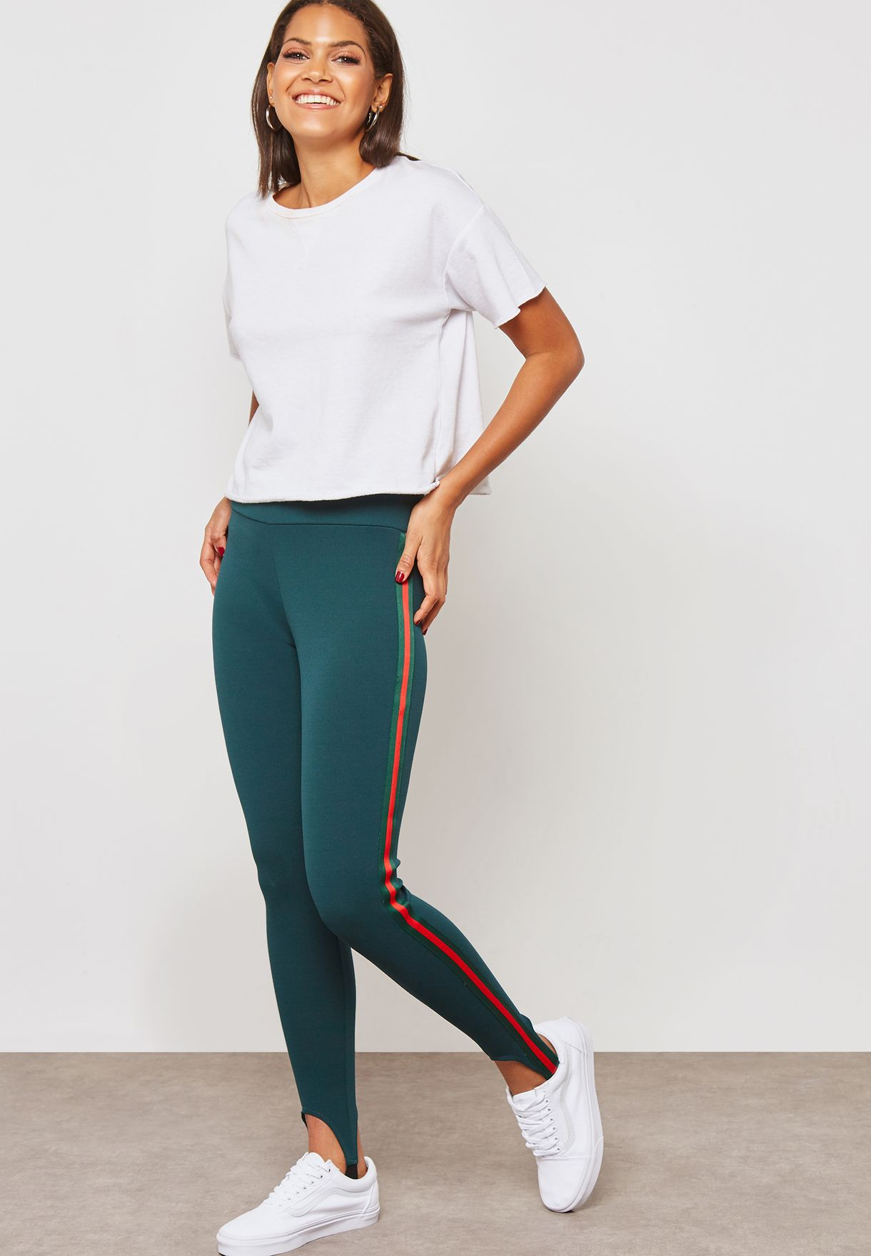 0a82adb77af805 Shop Ginger green Contrast Side Paneled Stirrup Leggings NA09-7893 for Women  in UAE - GI121AT88UCT