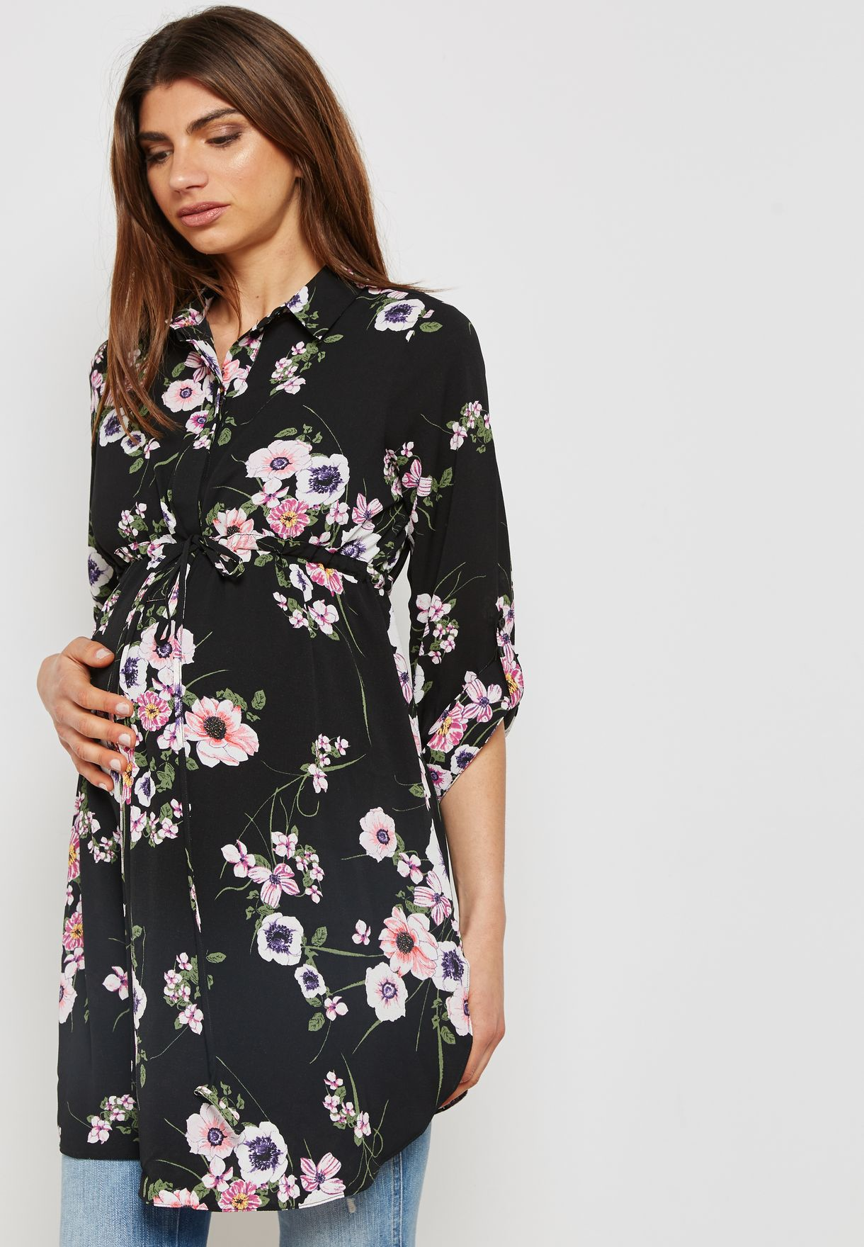 Roll Sleeve Floral Print Shirt