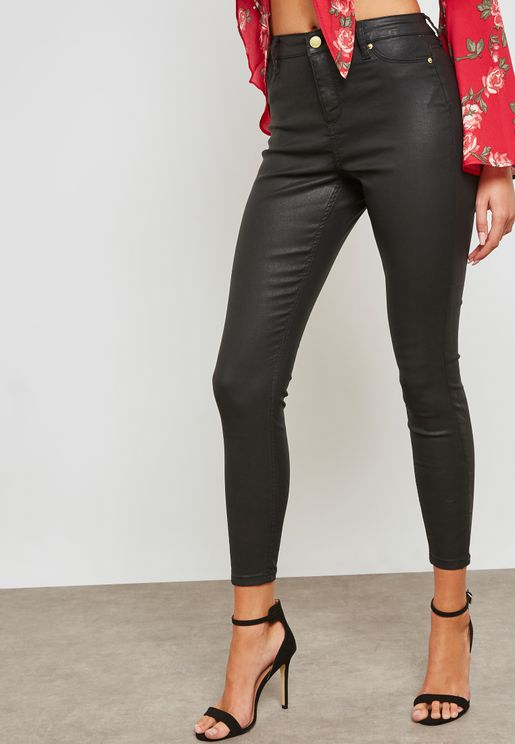 Coated Ankle Grazer Skinny Jeans
