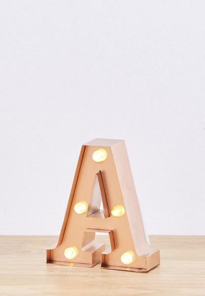 Rose Gold A Mini Marquee Letters