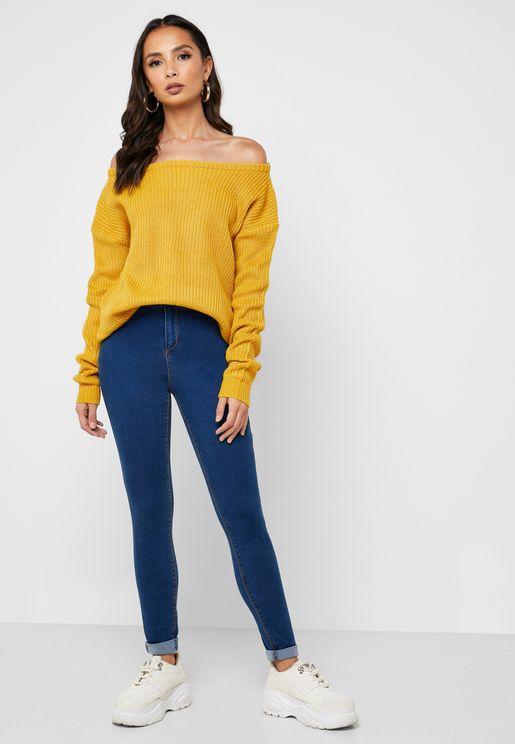 Vice High Waist Slash Knee Skinny Jeans