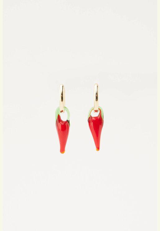 Glass chilli pepper earrings