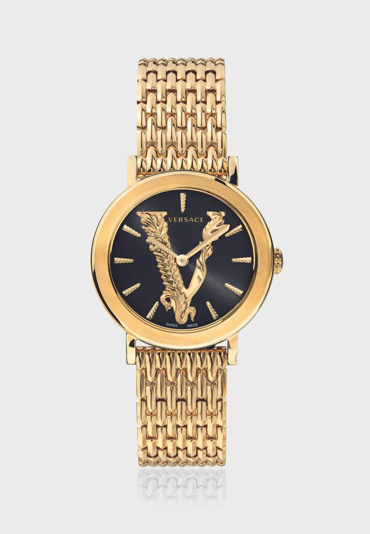ساعة فيرساتشي فيرتوس بسوار ستانلس ستيل للنساء - VEHC00619