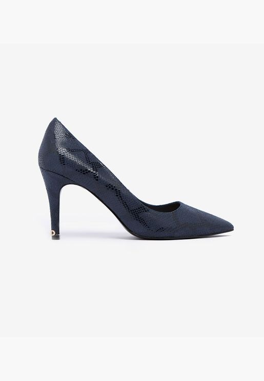 Snake Print Pointed Toe Stiletto Heeled Pumps - Bl