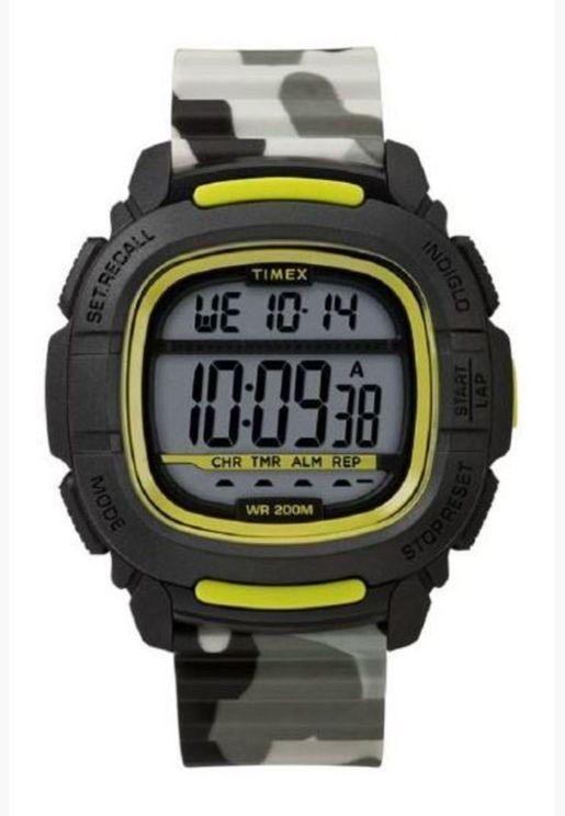 ساعة تيميكس بوست شوك سوداء / لايم / كامو رقمية بسوار سيليكون للرجال - TW5M26600