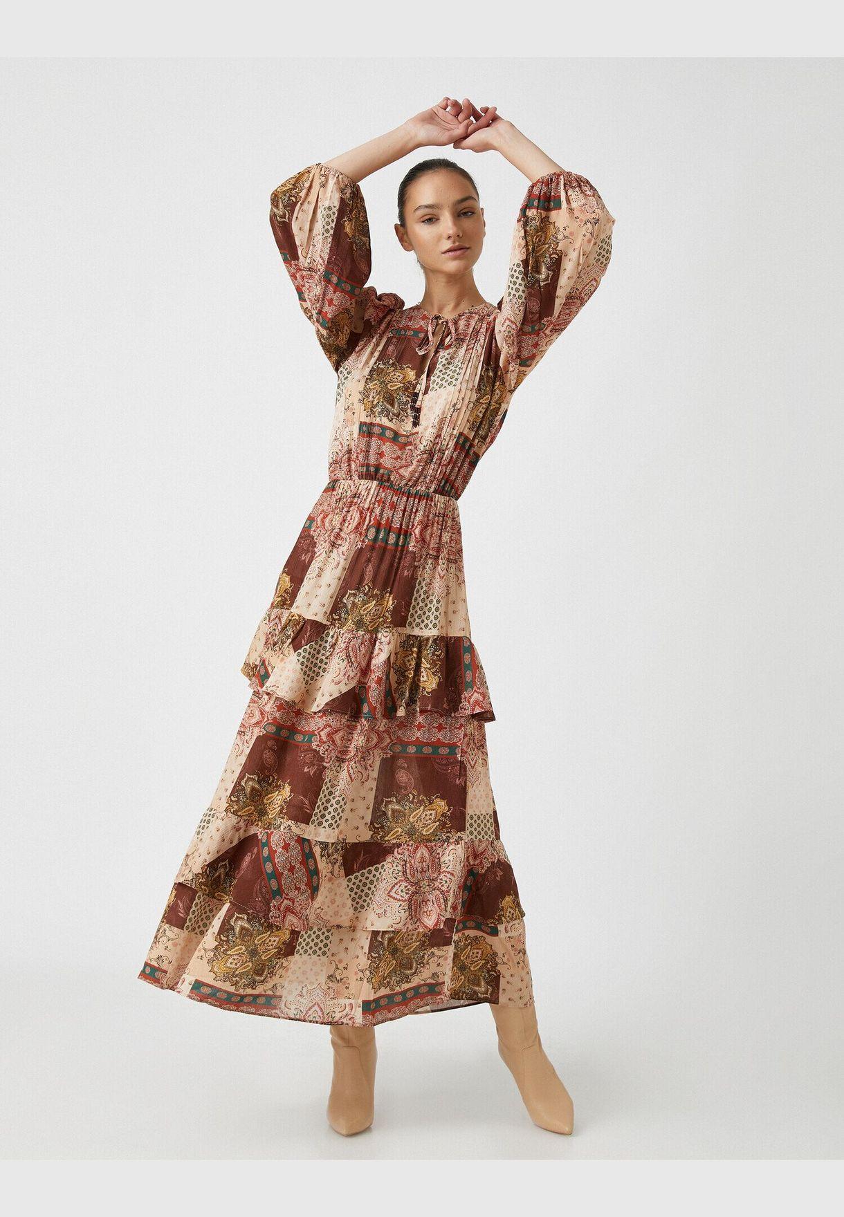 Respect Life | Yaşama Saygı - Arzu Sabancı for Koton 100% Viscose  Ethnic Printed Long Sleeve Dress