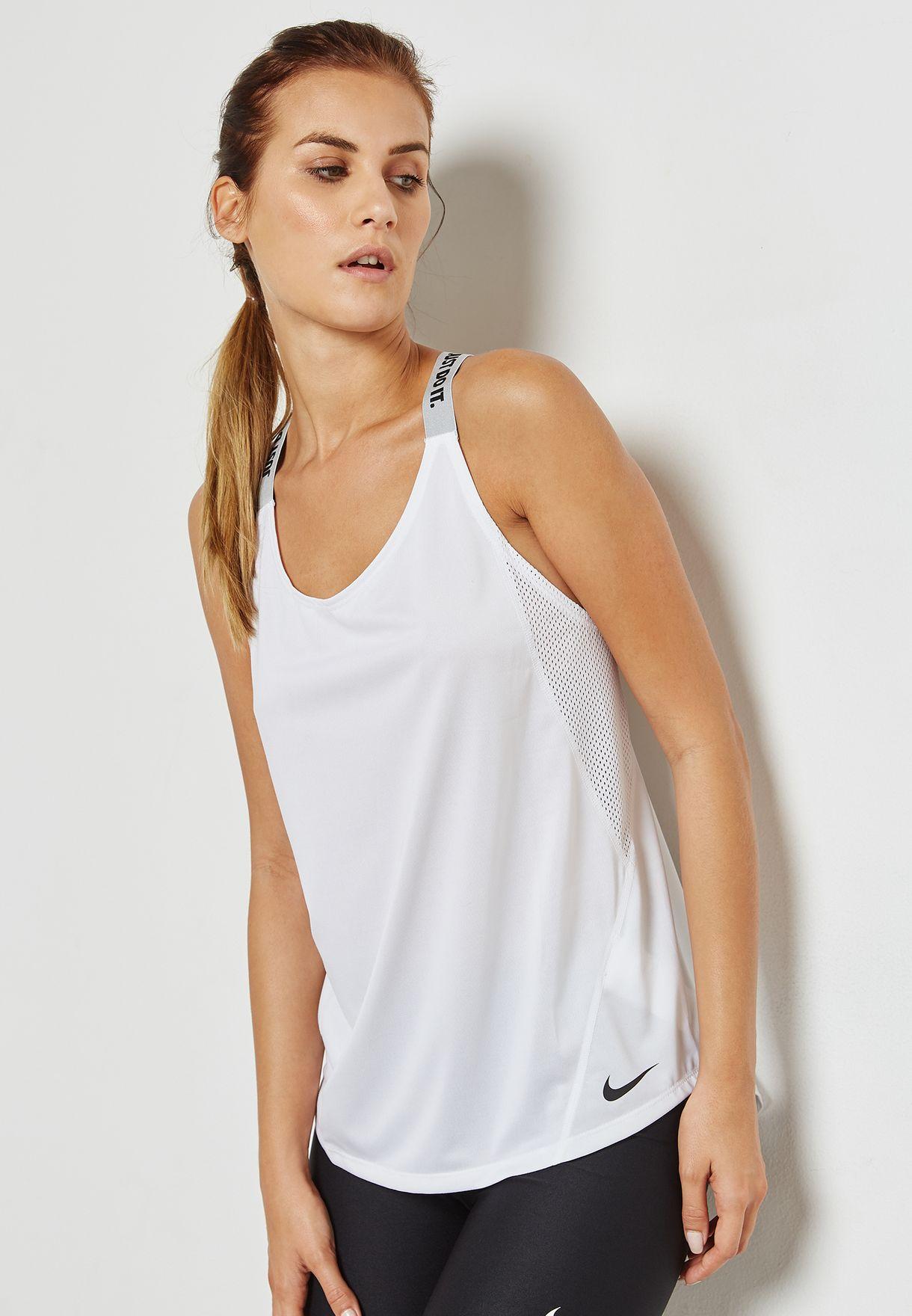 43362899603c89 Shop Nike white Dri-FIT Elastika Tank 921725-100 for Women in Saudi ...