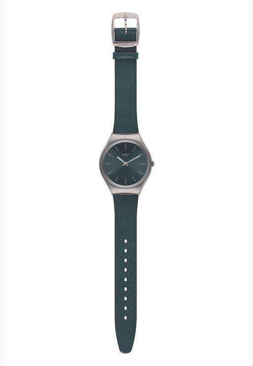 ساعة سواتش جلد ايروني 38 بسوار سيليكون للجنسين - SYXS121