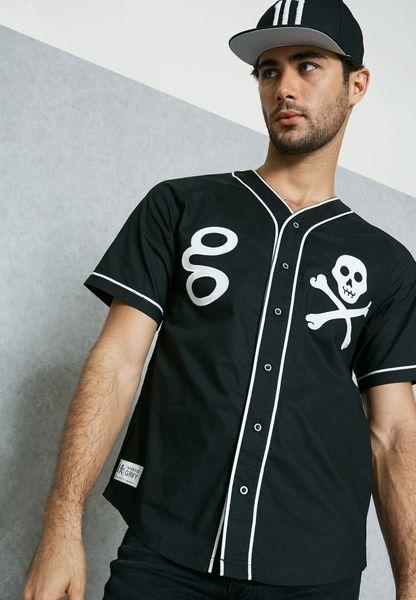 Skull Print Baseball Jersey