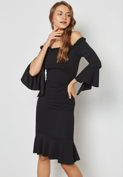 Ruffle Trim Bardot Dress