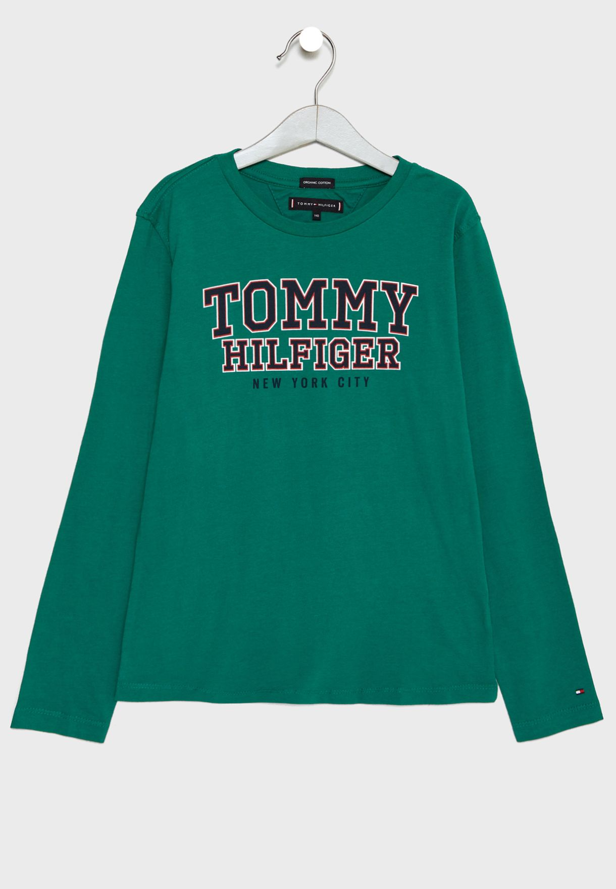 07612bfd1 Shop Tommy Hilfiger green Teen Logo T-Shirt KB0KB04279 for Kids in ...