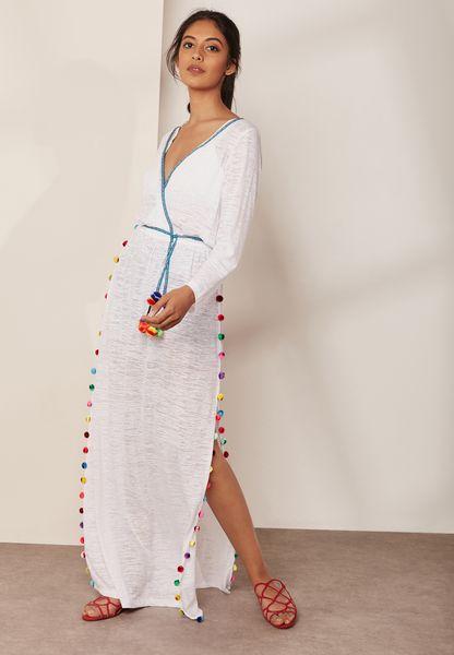 Pom Pom Wrap Maxi Dress