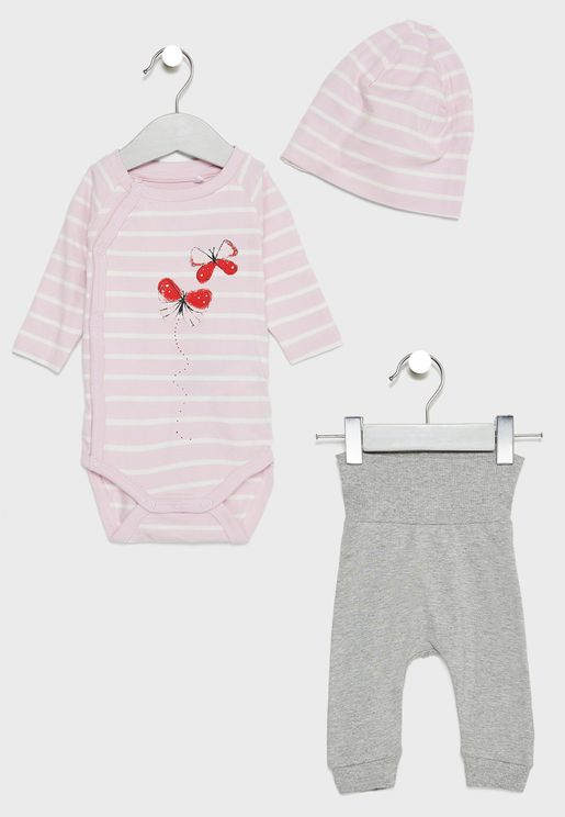 Infant Top + Sweatpants + Hat Set