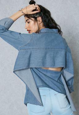 Open Back Ruffle Denim Shirt