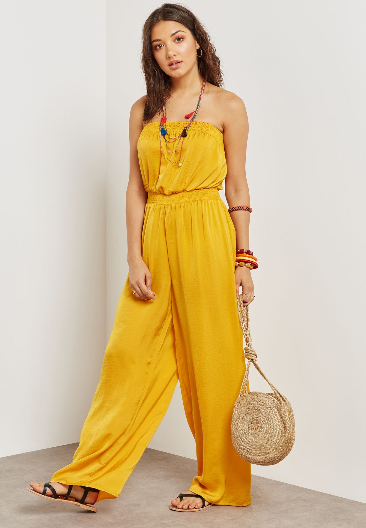 Shop Forever 21 Yellow Smocked Bandeau Jumpsuit 165967 For Women In