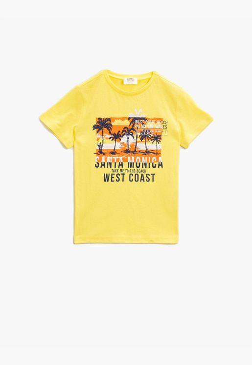 Crew Neck T-Shirt Printed Short Sleeve