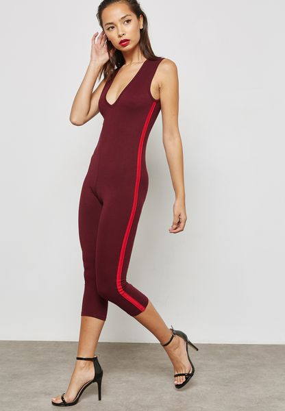 Side Striped Plunge Jumpsuit