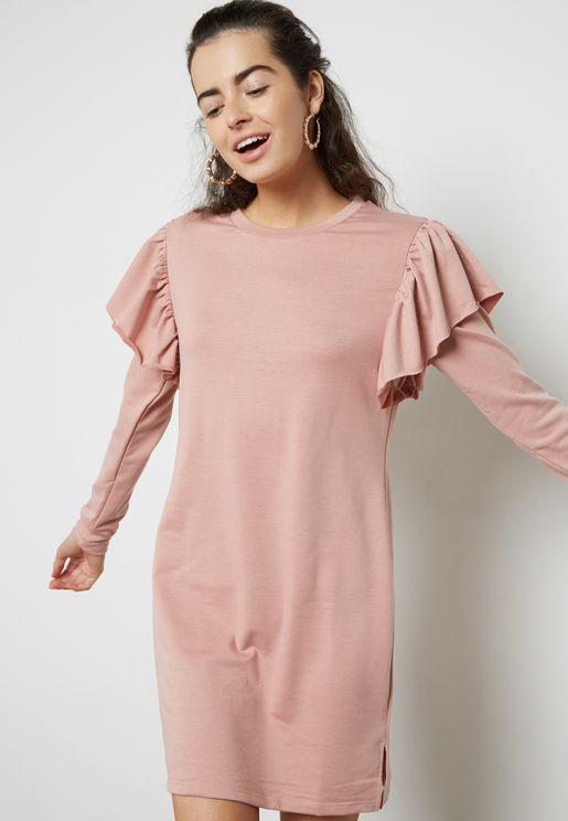 Frill Detail Sweater Dress