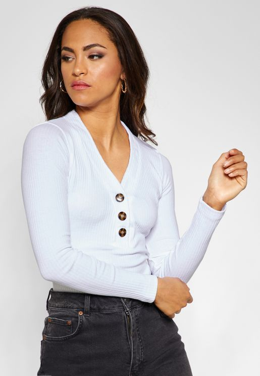 Button Detail Long Sleeve Body