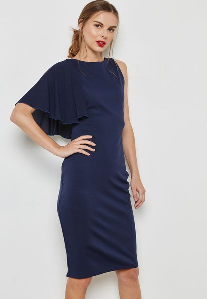 One Shoulder Frill Bodycon Dress. Lost Ink