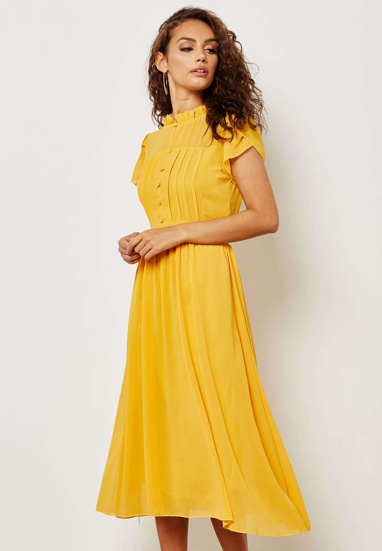 af3c558af Shop Ella yellow Ruffle Pleated Self Tie Midi Dress 6002(6008) for ...