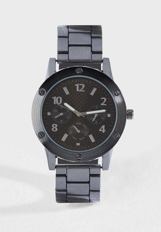 Formal Metal Strap Analogue Watch