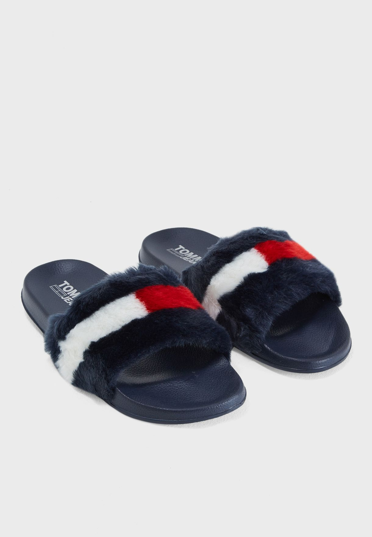 3bd789acc Shop Tommy Jeans navy Funny Fur Pool Slide EN0EN00287403 for Women ...