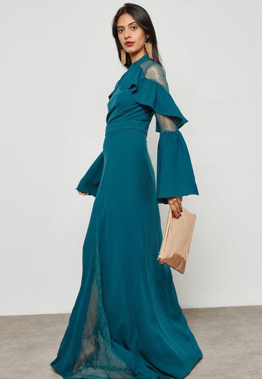 Lace Insert Ruffle Detail Dress