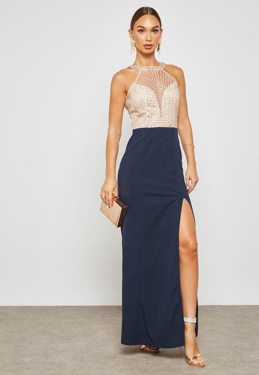 Embellished Halter Dress