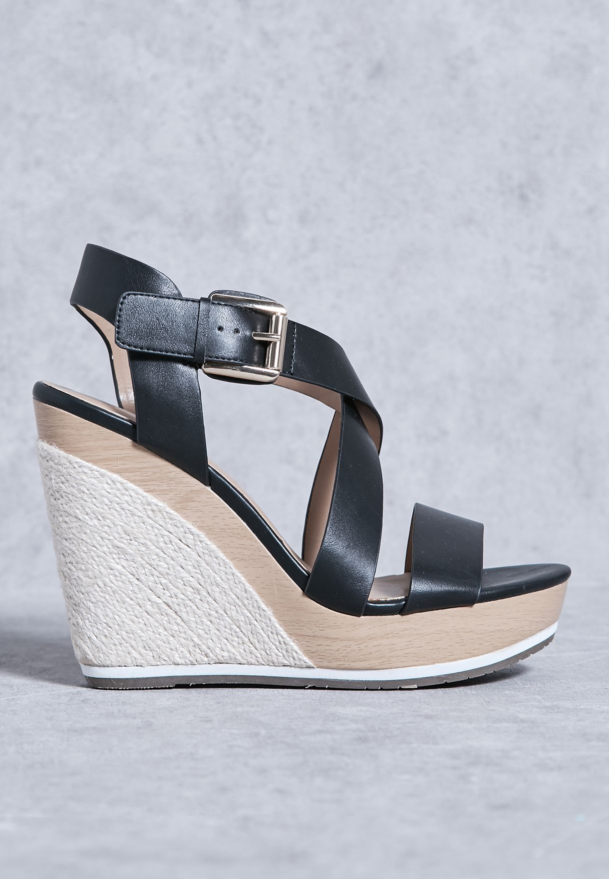 d3c3effe2f7410 Shop Call It Spring black Lalisen Wedge Sandals for Women in Kuwait -  CA918SH88GUX