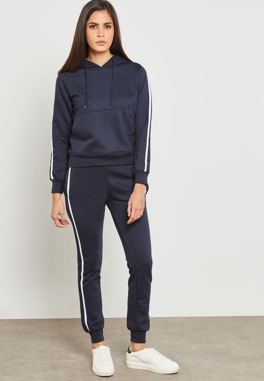 Contrast Side Paneled Hoodie Set