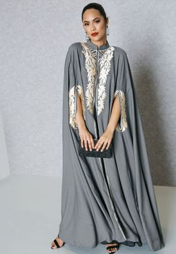 Embroidered Detail Cape Abaya