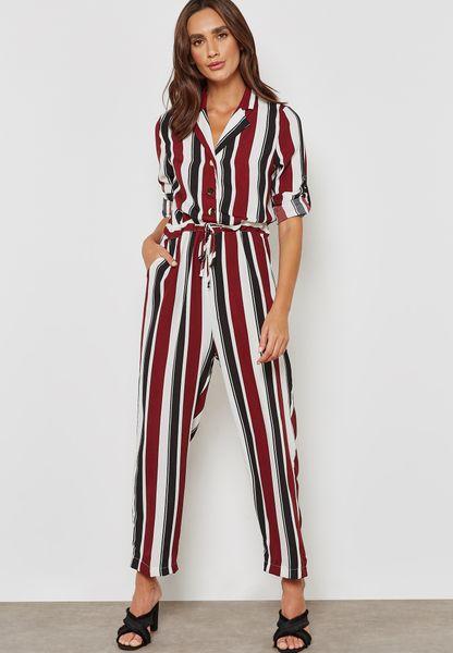 Striped Drawstring Shirt Jumpsuit