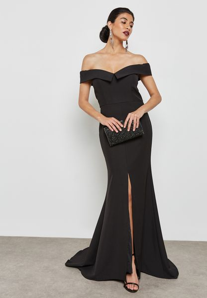 Front Split Bardot Maxi Dress