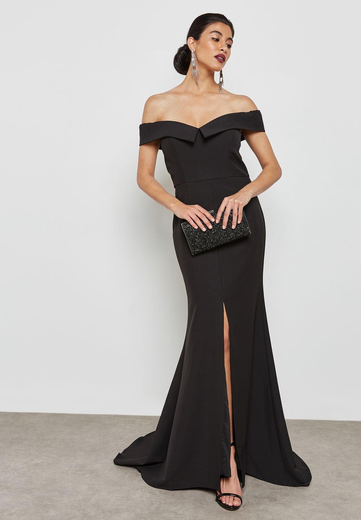 Shop Jarlo black Front Split Bardot Maxi Dress AUTUM BLACK (NO CODE ... 8d4b1afea