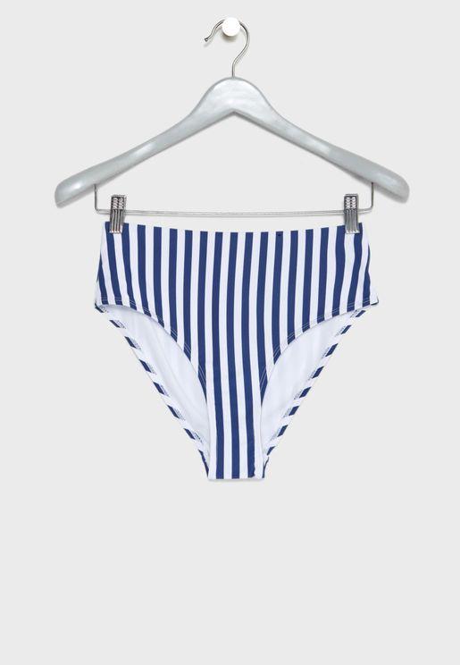 Striped High Waist Bikini Bottom 4dacfd1769