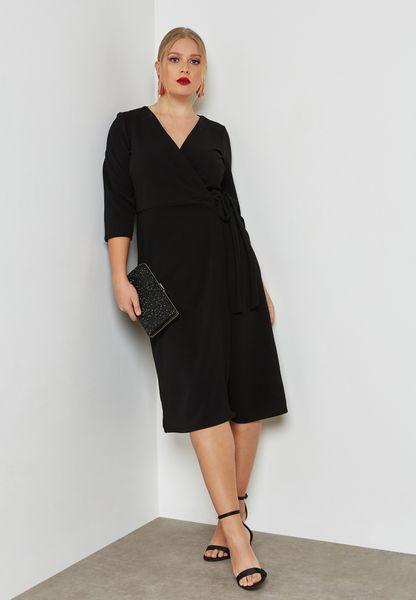 Belted Wrap Plunge Dress