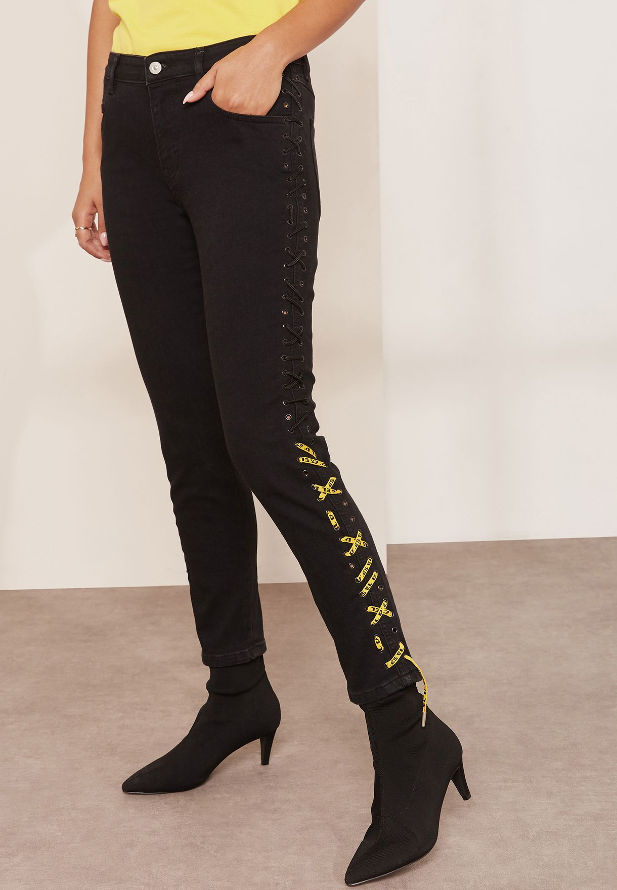 7e2e4320a Shop Diesel black Side Lace Up Skinny Jeans 00SH2F for Women in Saudi -  DI035AT88JOP
